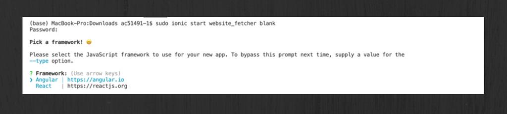 sudo ionic start app_name blank